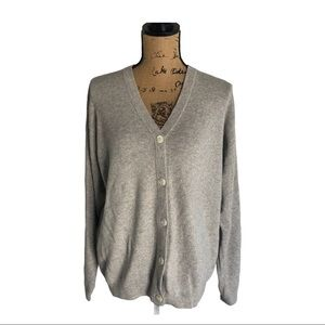 Ann Taylor light grey cardigan pearlized buttons L